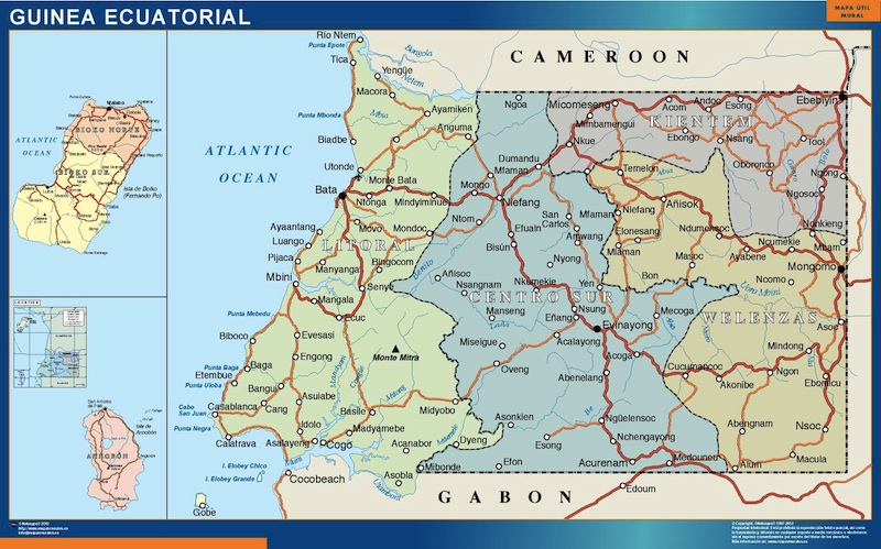 Wall map equatorial guinea our cartographers have made wall map wall map equatorial guinea gumiabroncs Images