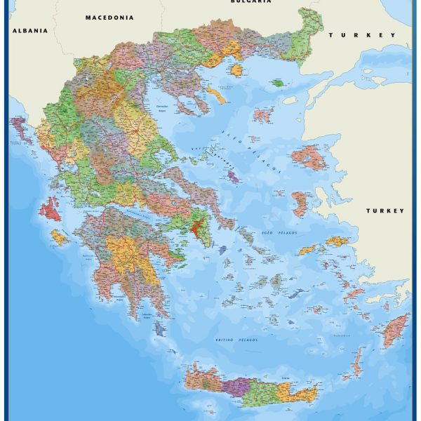 wall map greece