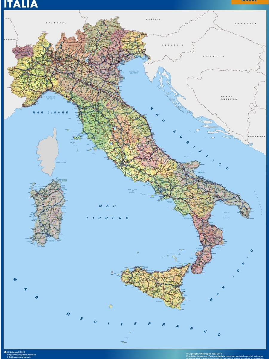 Wall Map Italy Our Cartographers Have Made Wall Map Italy As - Wall atlas