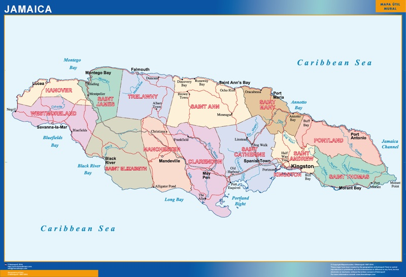 wall map jamaica A vector eps maps designed by our cartographers
