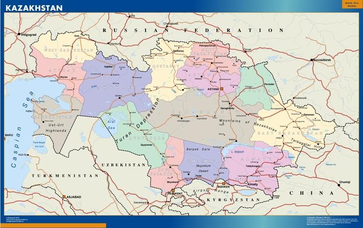 Wall Map Kazakhstan Vector World Maps
