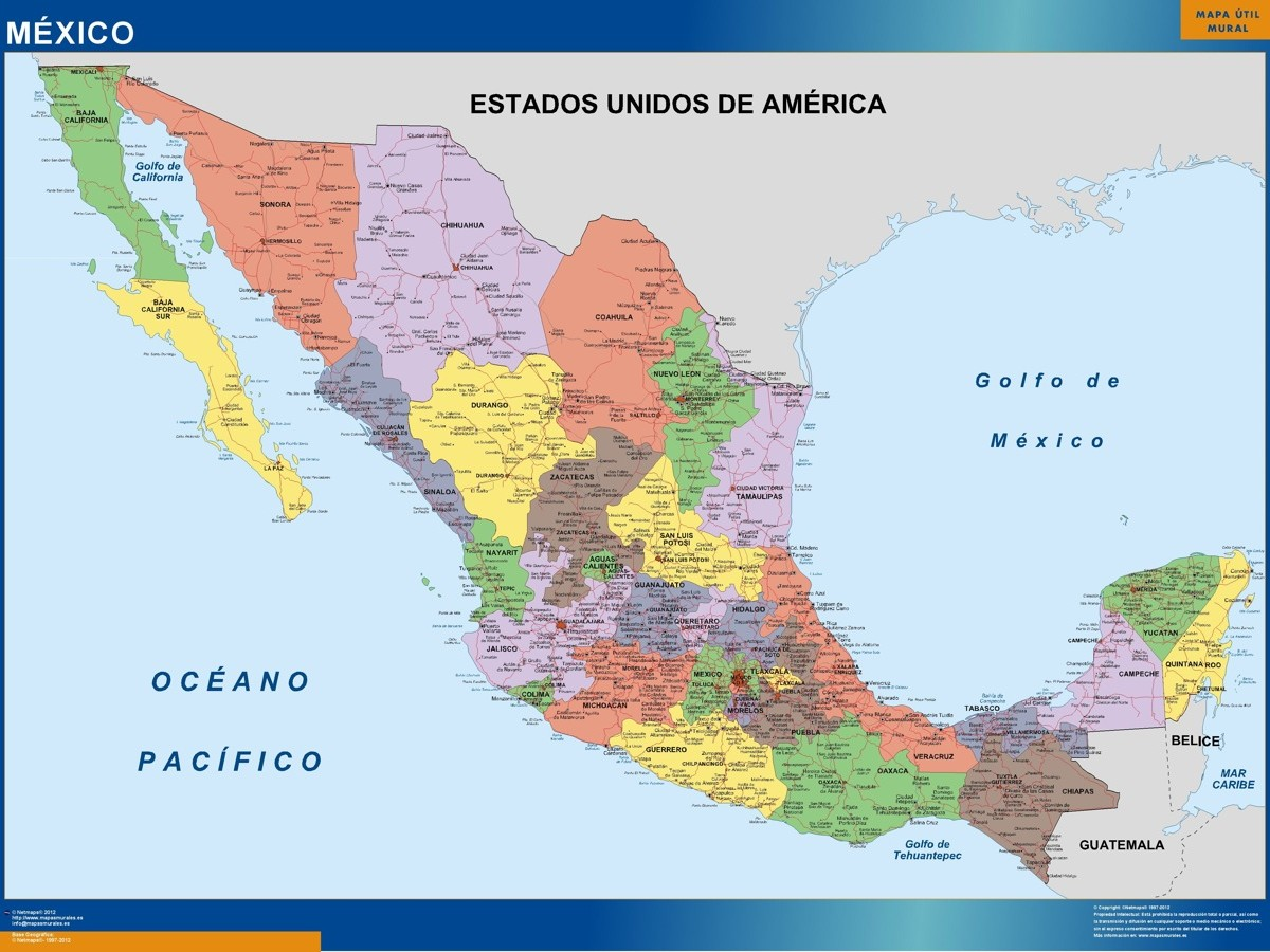 wall map mexico