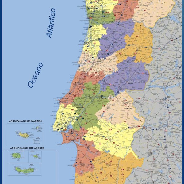 wall map portugal