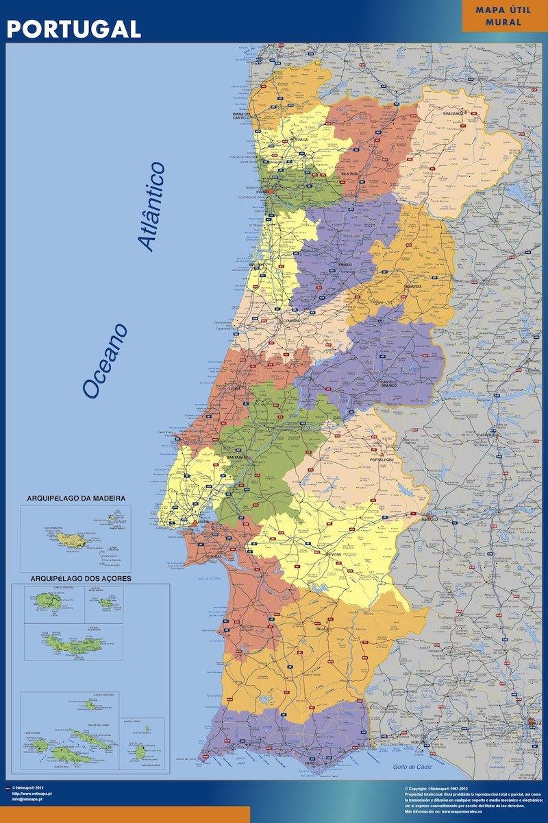 wall map portugal | Vector World Maps
