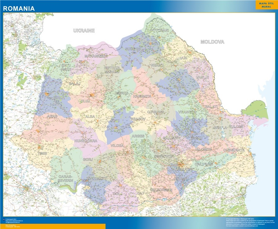 Wall Map Romania Vector World Maps