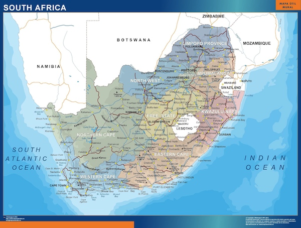 South africa political map vector wall maps from netmaps made wall map south africa gumiabroncs Images