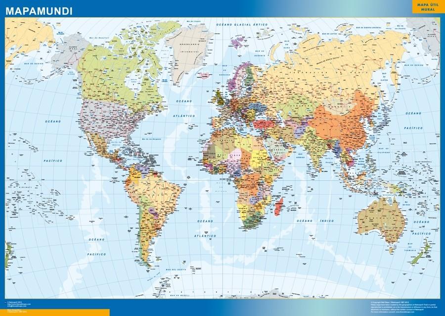 World Wall Map Spanish Vector World Maps