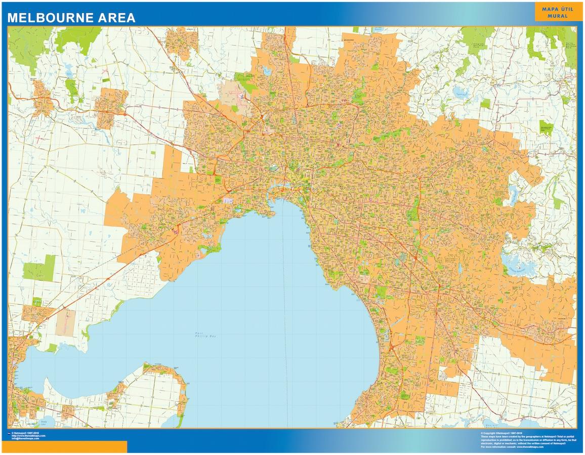 Melbourne Australia City Map.Melbourne Area Wall Map Vector World Maps