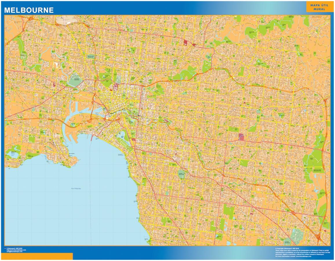 Street Map Australia.Melbourne Wall Map