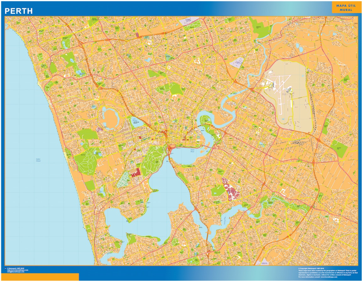 Perth On Map Of Australia.Perth Wall Map