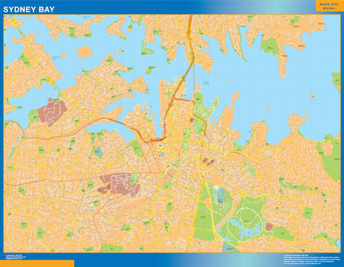 Street Map Australia.Sydney Bay Wall Map