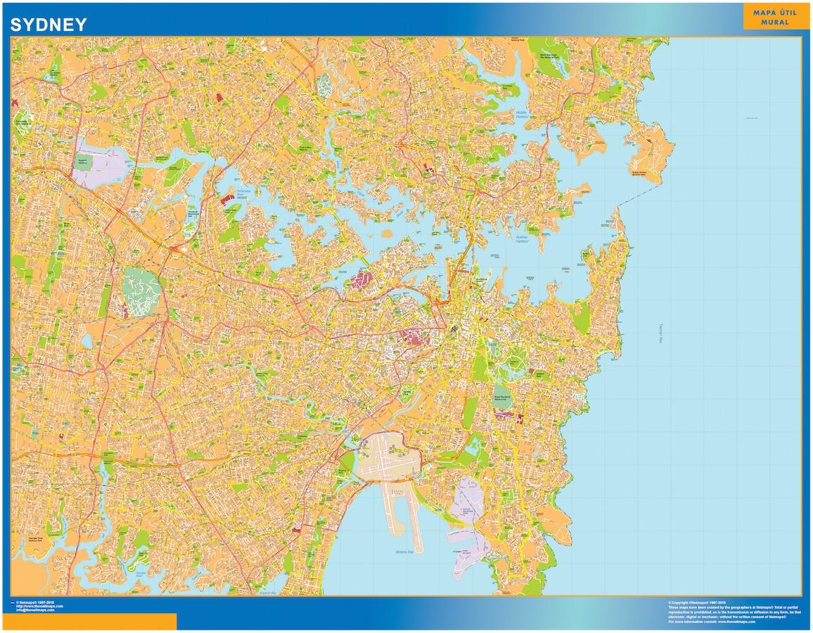 Australia Map Detailed.Sydney Wall Map
