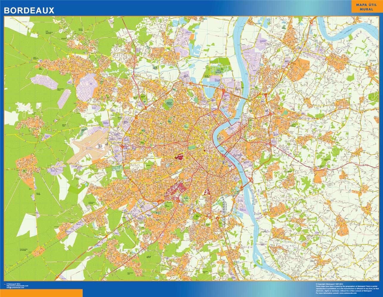 Bordeaux On Map Of France.Bordeaux Wall Map