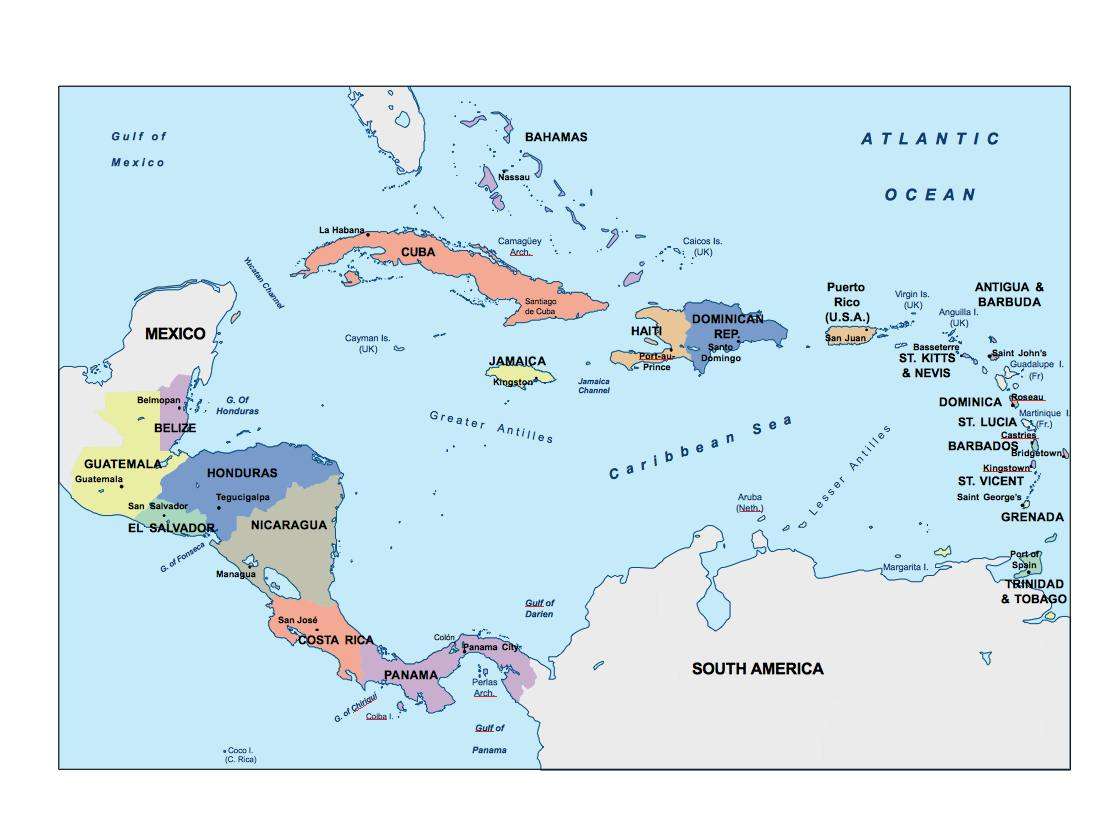 central america presentation map | Vector World Maps