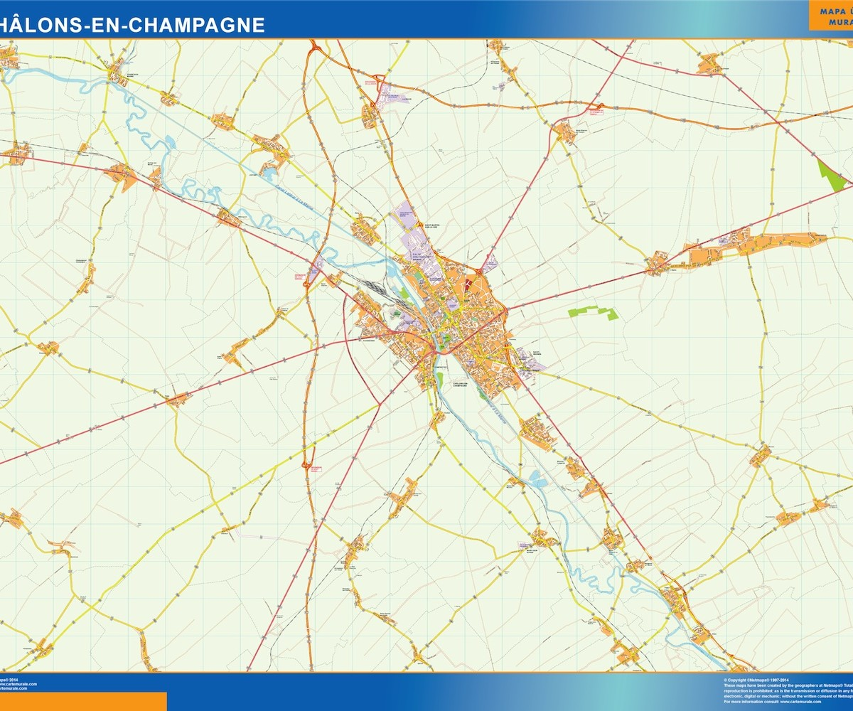 Chalons En Champagne Wall Map Vector World Maps