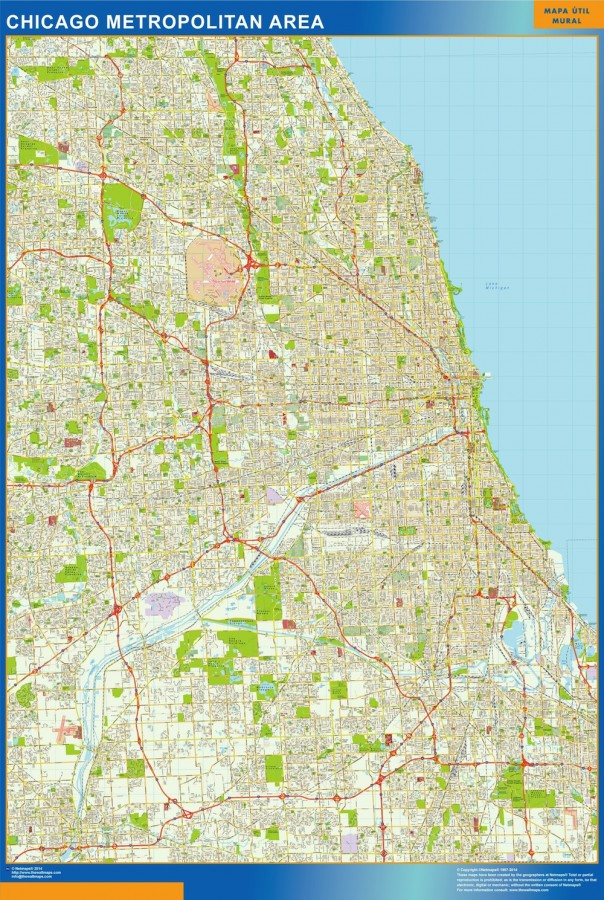 Chicago Wall Map Vector World Maps