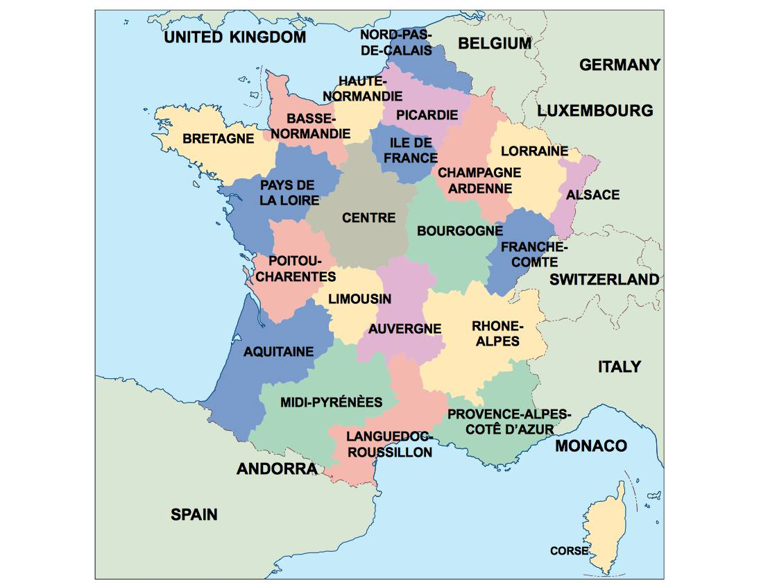 France On A Map Of Europe.France Presentation Map
