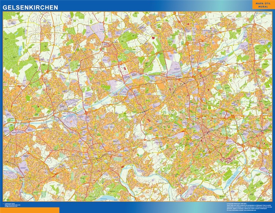 Gelsenkirchen Germany Map.Gelsenkirchen Wall Map Vector World Maps