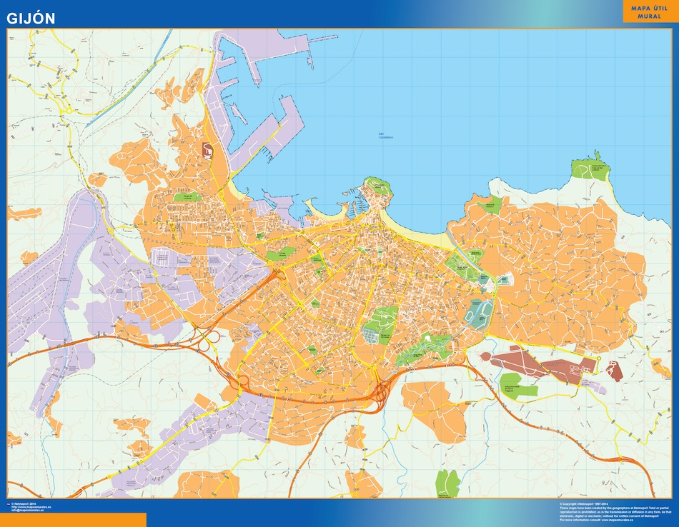 gijon wall map Our cartographers have made gijon wall map