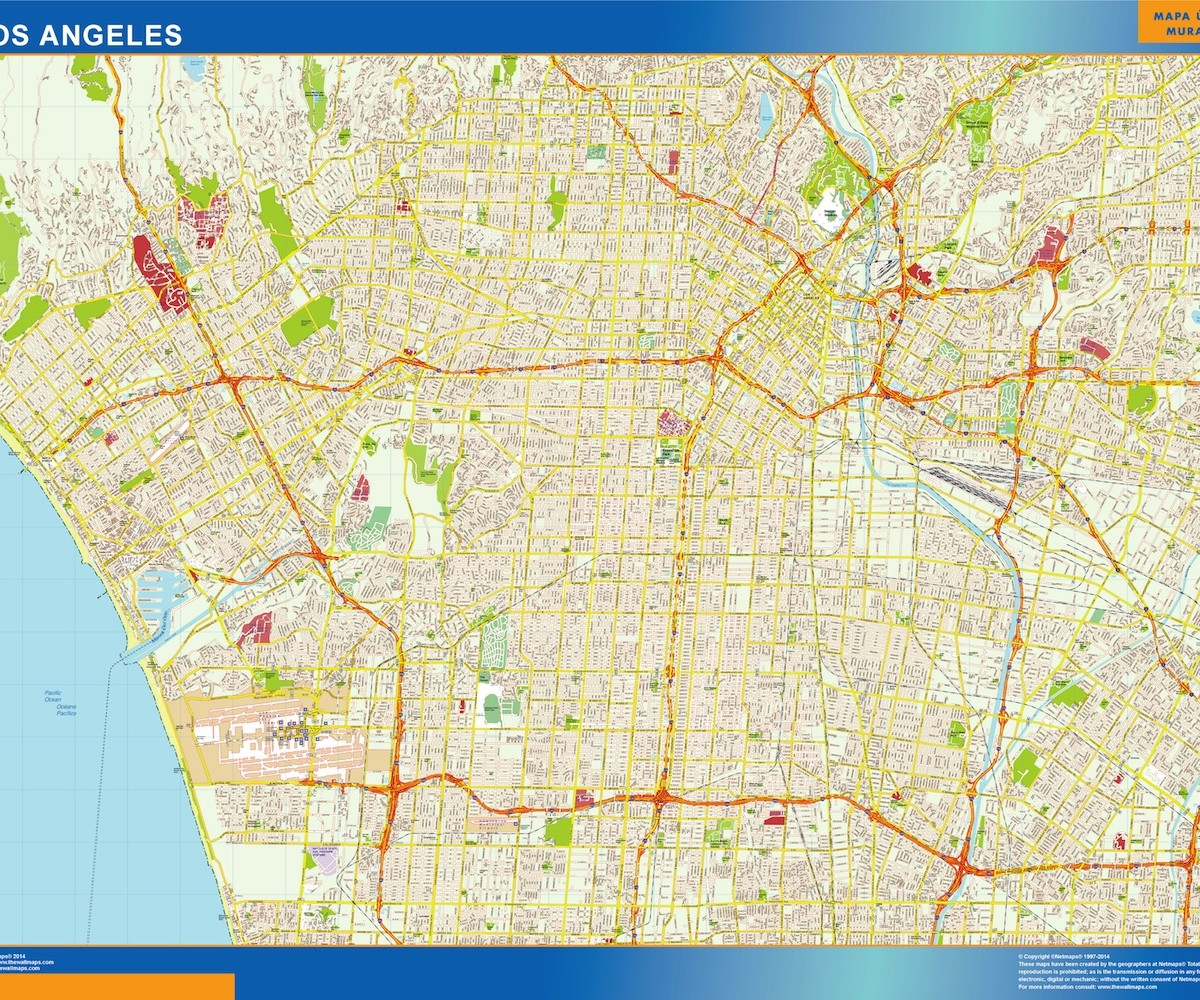 Los Angeles Wall Map Our Cartographers Have Made Los Angeles - Los angeles map download