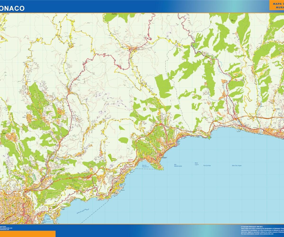 Monaco On Map Of France.Monaco Wall Map