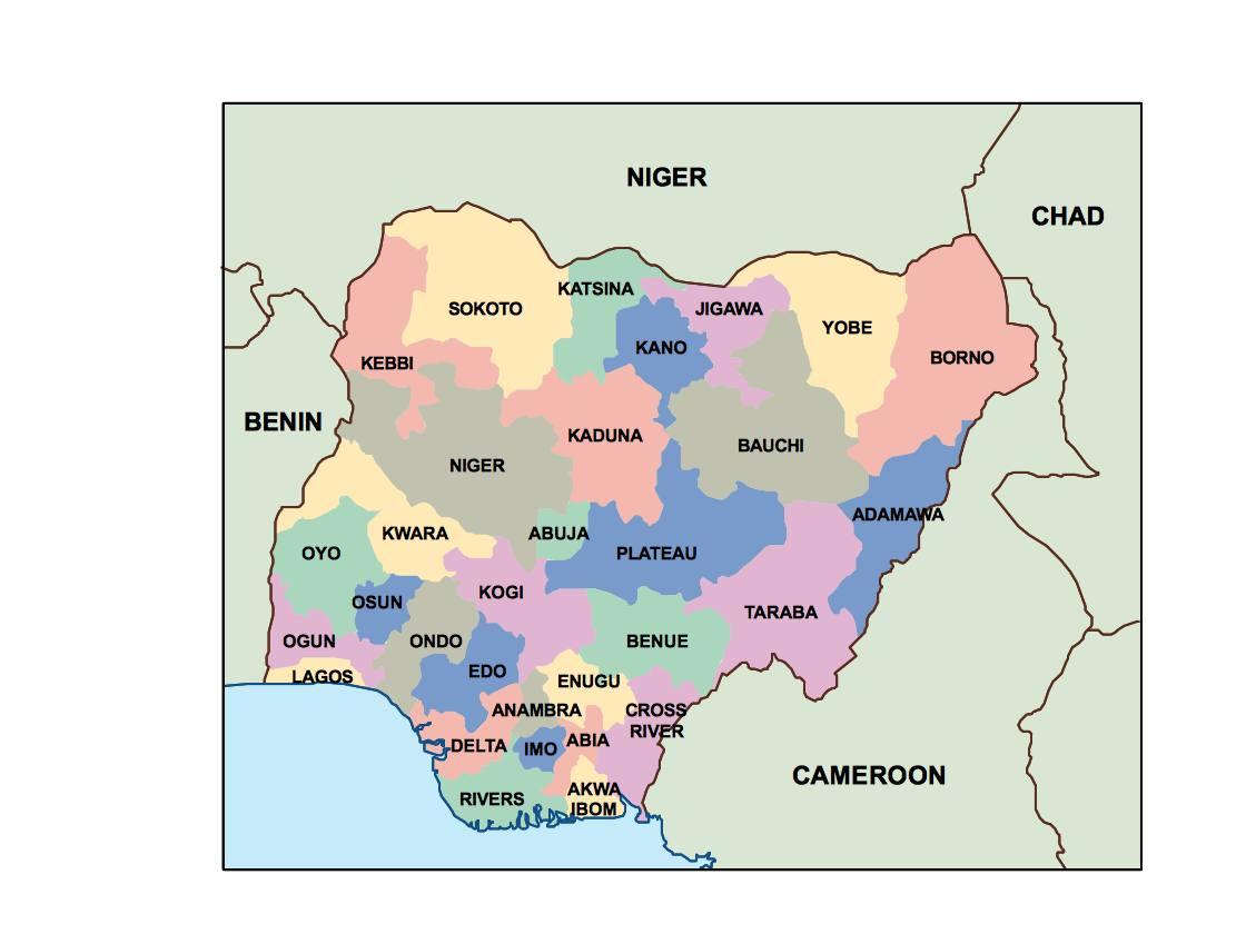 Nigeria Presentation Map Vector World Maps