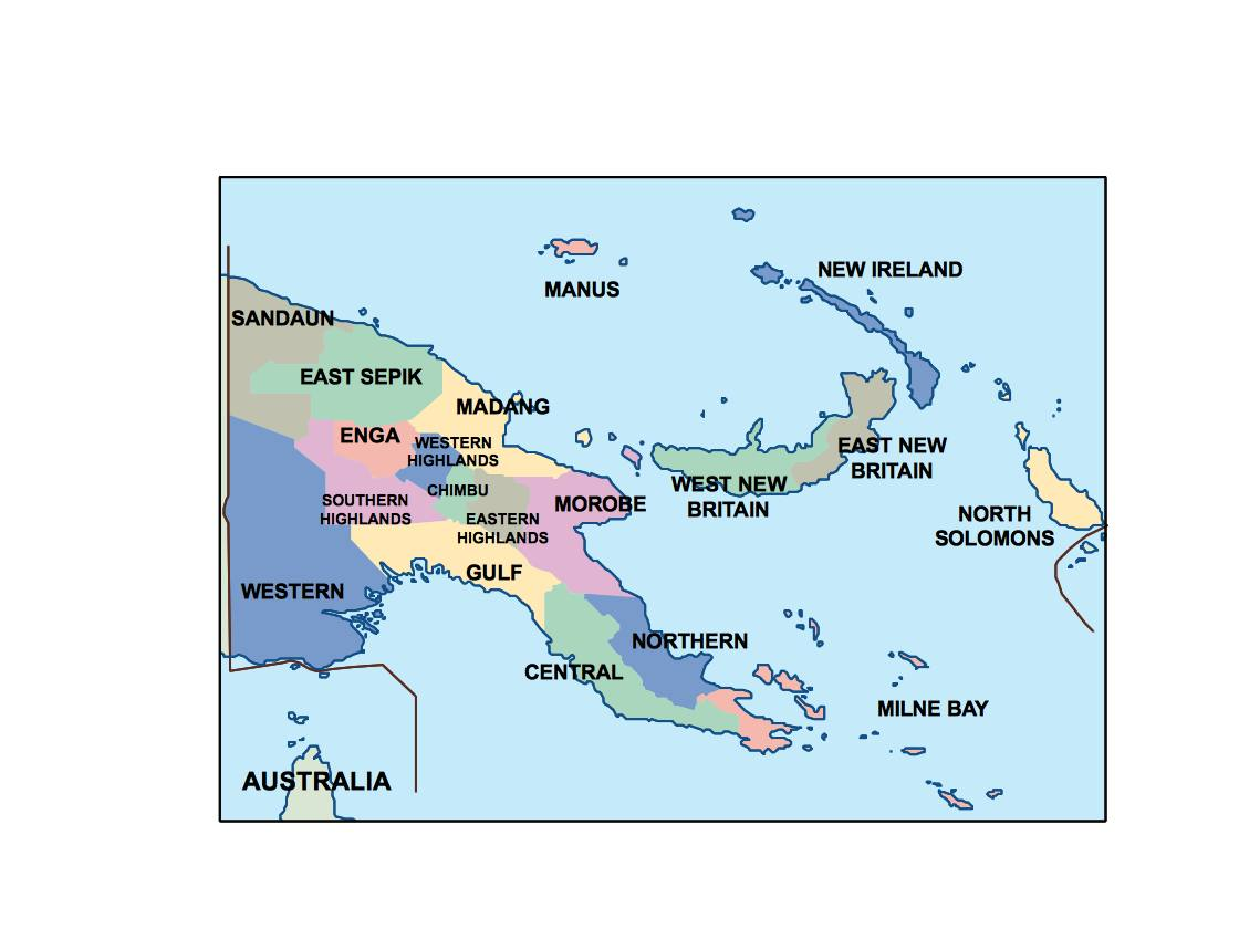 Papua New Guinea Presentation Map Vector World Maps