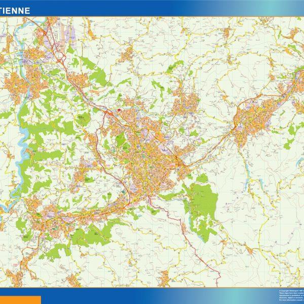 saint etienne wall map