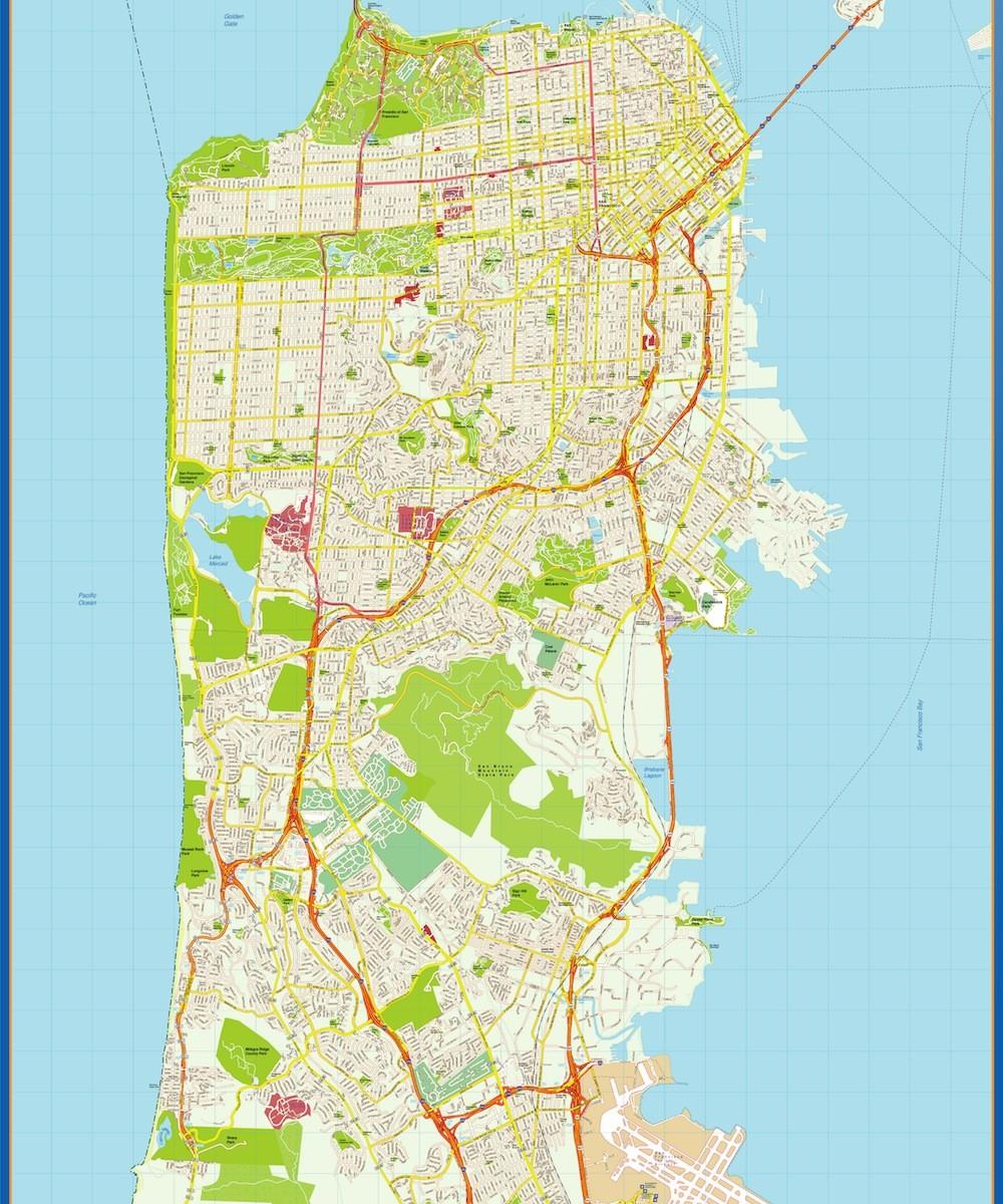 san francisco wall map | Vector World Maps