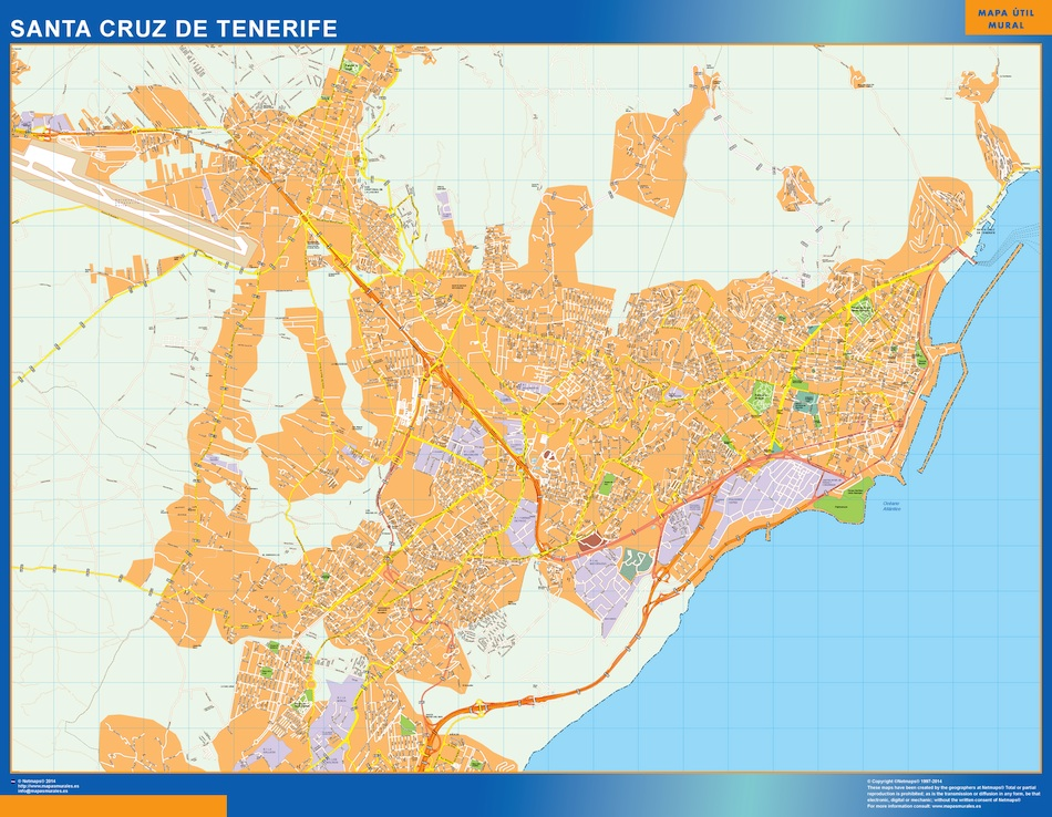 santa cruz tenerife wall map for your project