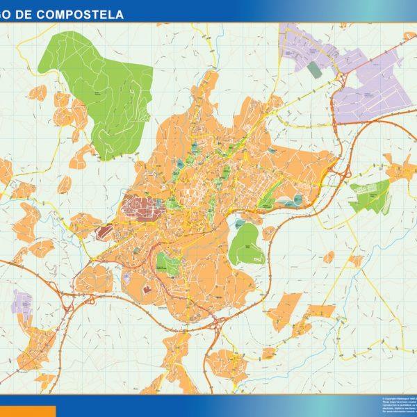 santiago de compostela wall map