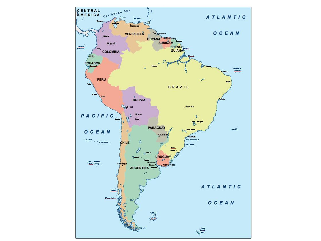 Picture of: South America Presentation Map Vector World Maps
