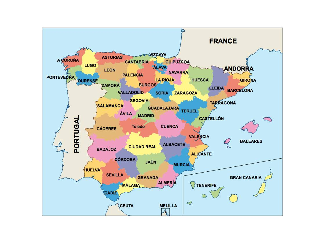 World Map Of Spain.Spain Presentation Map