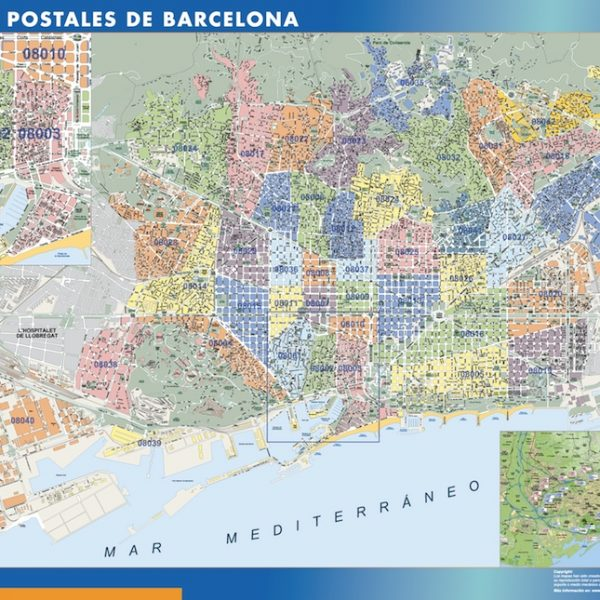 Spain magnetic maps vector wall maps made in barcelona for Avenida madrid barcelona codigo postal