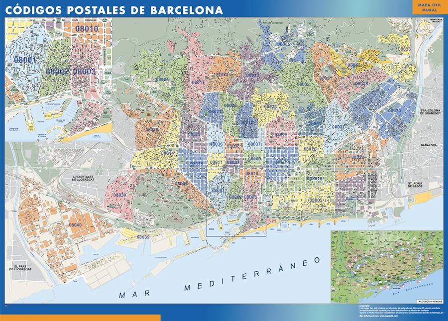 Barcelona Codigos Postales Mapa Magnetico Vector World Maps