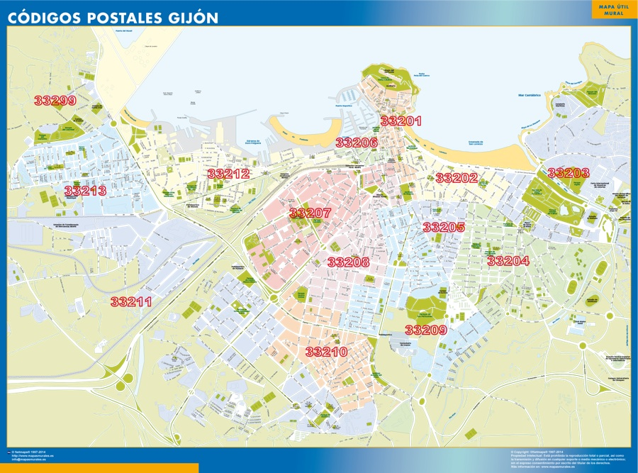 Gijon Codigos Postales mapa magnetico Our cartographers have made