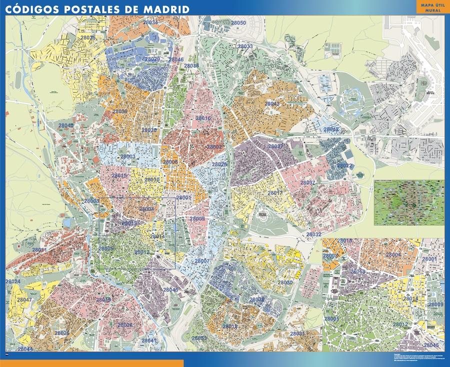 Madrid Codigos Postales Mapa Magnetico Vector World Maps