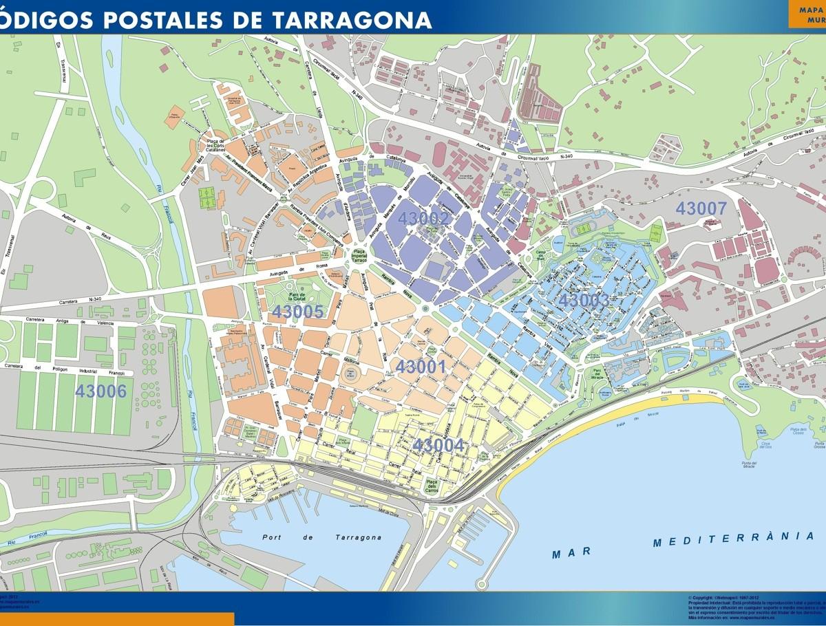 Tarragona Codigos Postales Mapa Magnetico Vector World Maps