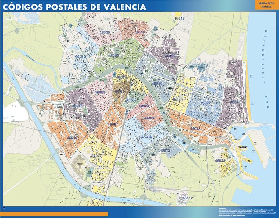 Valencia Codigos Postales Mapa Magnetico Vector World Maps