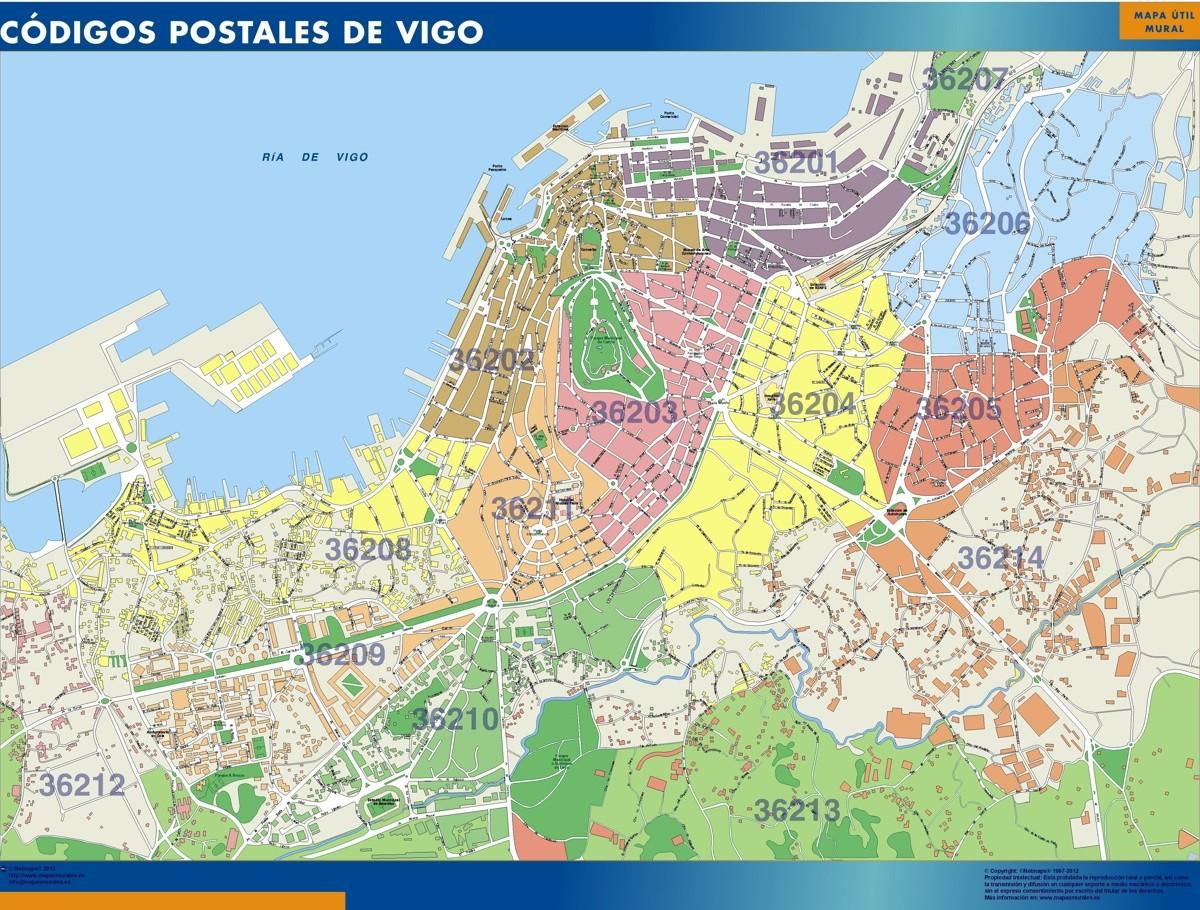 Vigo Codigos Postales Mapa Magnetico Vector World Maps