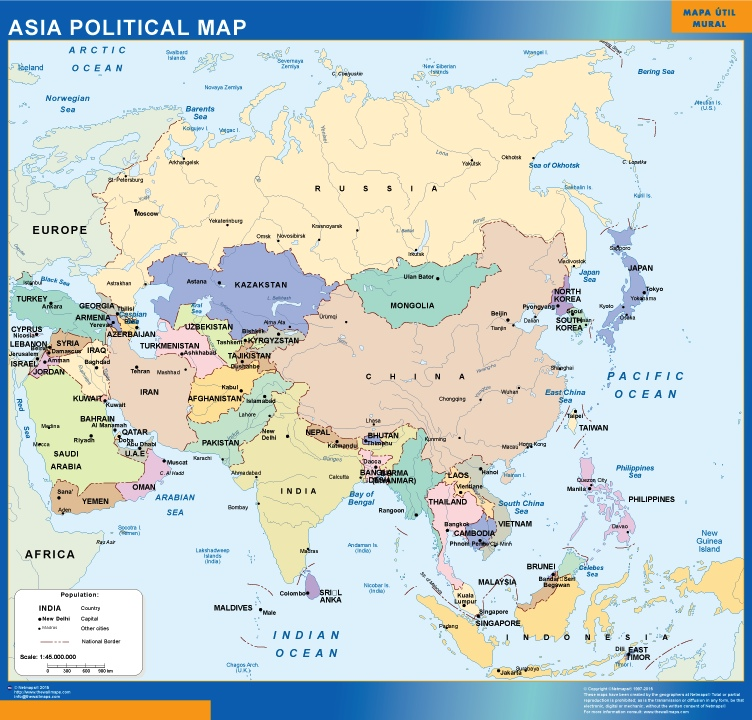Show The Map Of Asia.Asia Political Magnetic Map
