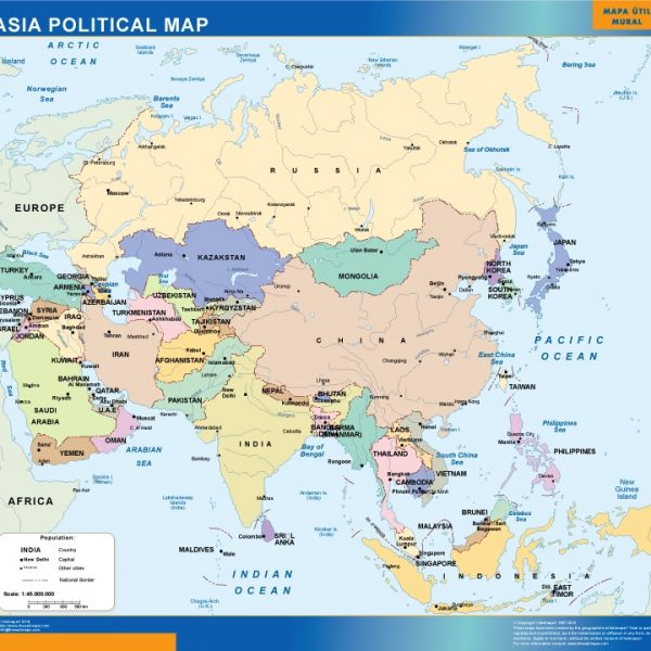 asia political vinyl sticker map
