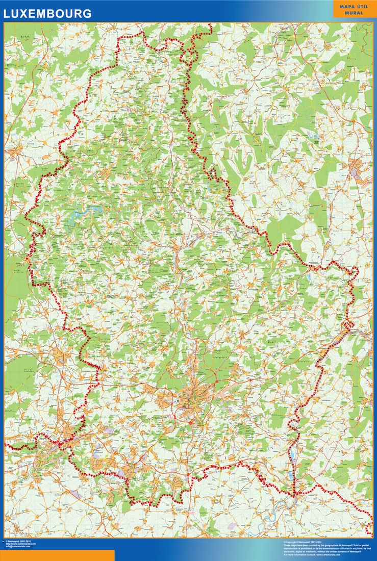 Luxembourg Maps Vector Wall Maps From Netmaps Made In