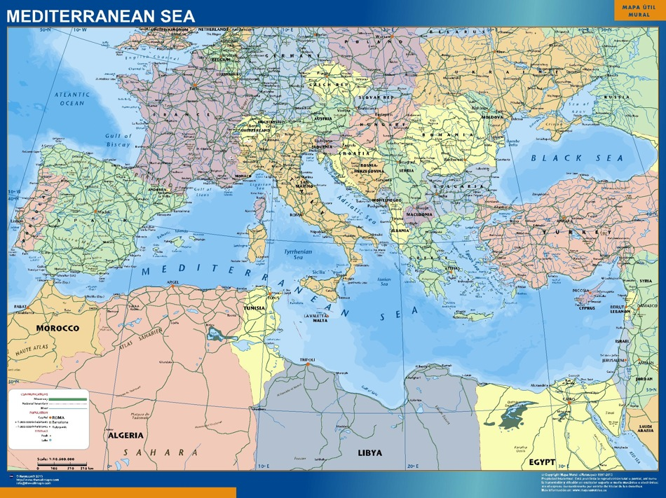 mediterranean sea countries magnetic map | Vector World Maps