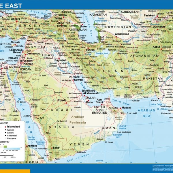 middle east framed map