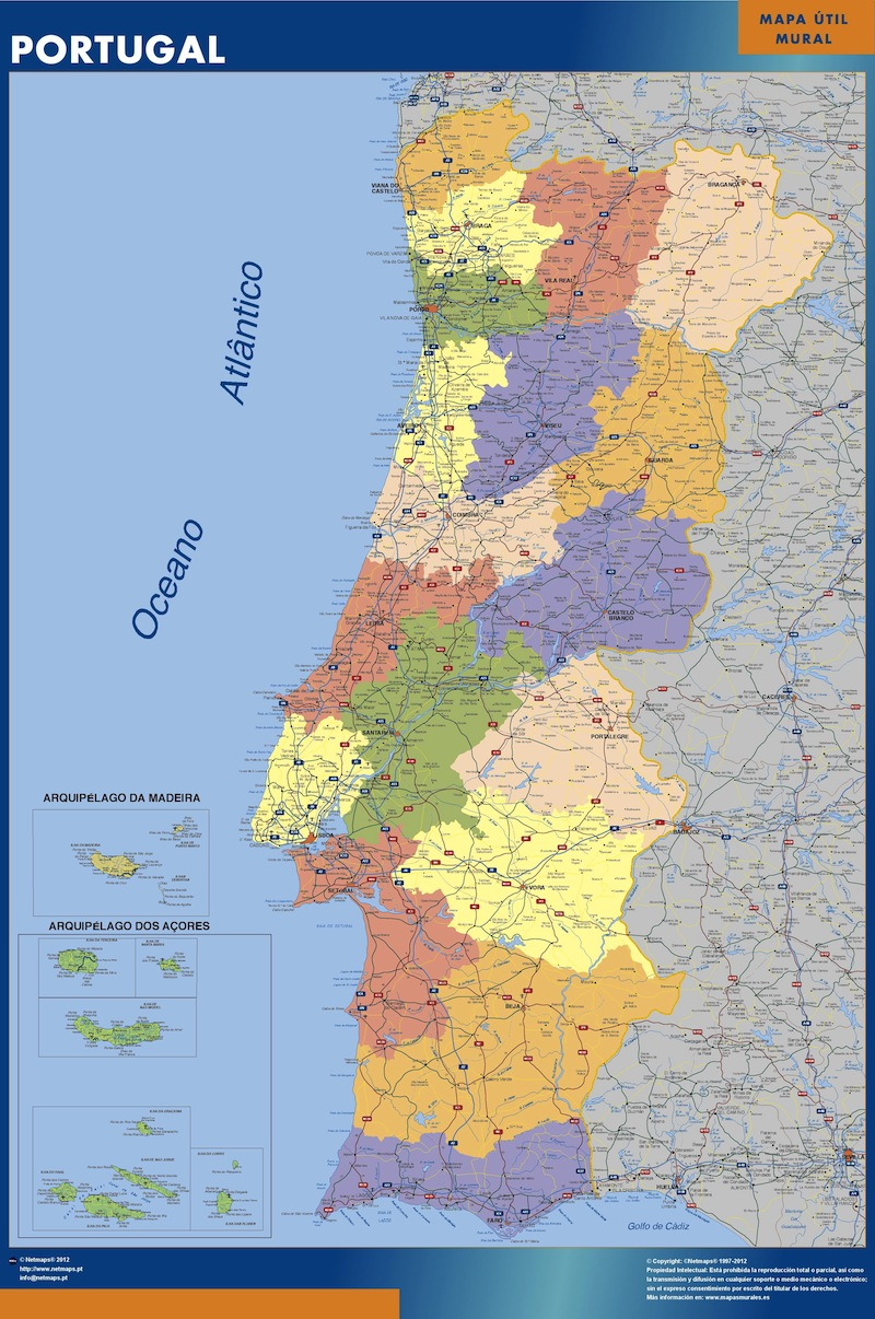 mapa portugal continental portugal vinyl sticker maps | A vector eps maps designed by our  mapa portugal continental