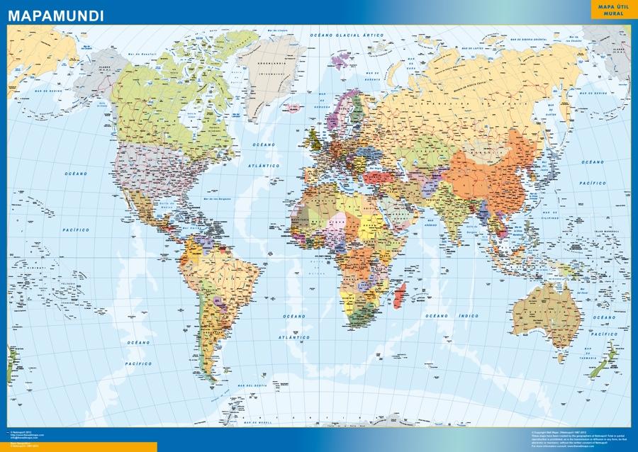 world framed map spanish | Vector World Maps
