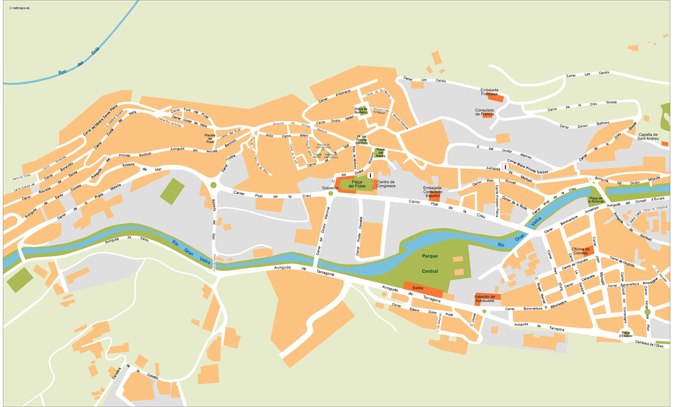 Andorra Maps Vector Wall Maps from Netmaps Made in Barcelona