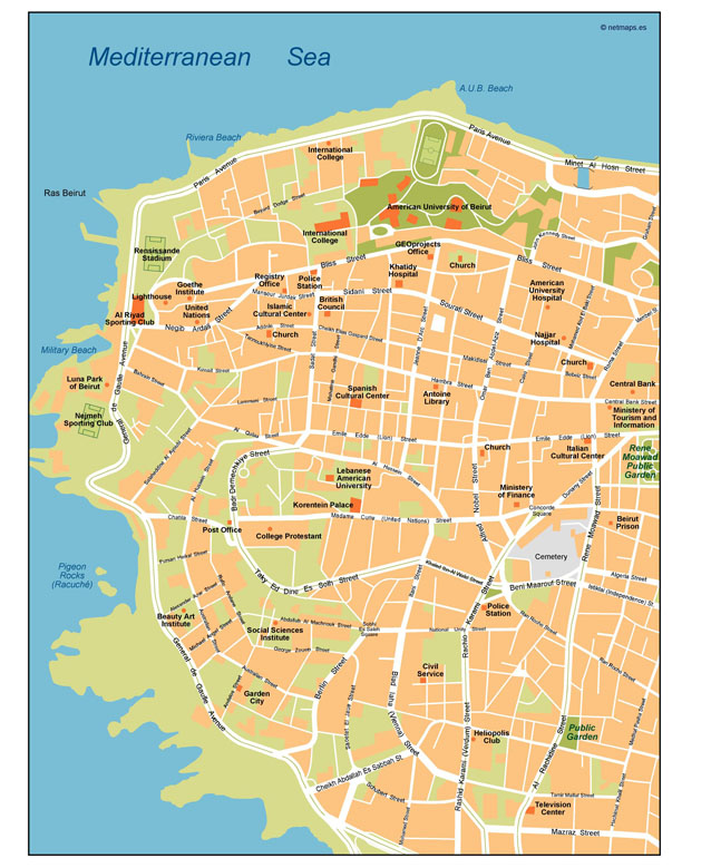 Beirut Vector Map Our cartographers have made Beirut Vector Map