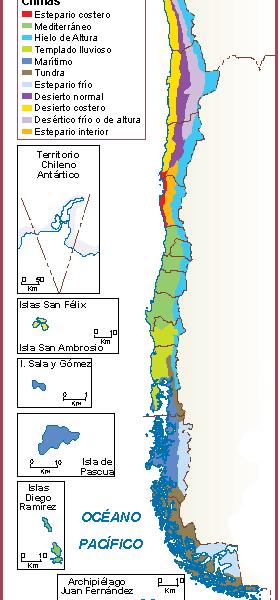 Chile mapa clima